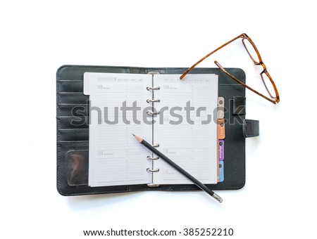 Blank organizer plan ,pencil and eyes glass  isolate on white (clipping path ) - stock photo