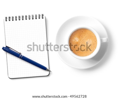 Blank organizer with pen and coffee cup. Isolated on white background - stock photo