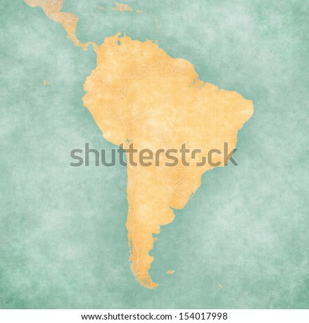 Blank outline map of South America. The Map is in vintage summer style and sunny mood. The map has a soft grunge and vintage atmosphere, which acts as a watercolor painting.  - stock photo