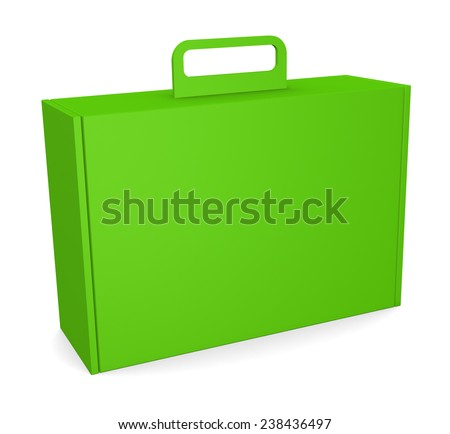 Blank package box with handle - isolated on white