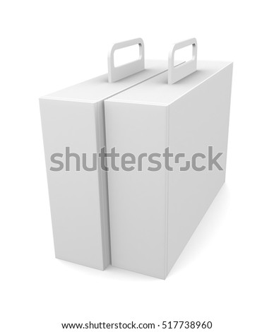Blank package box with handle - isolated on white  background. 3d render