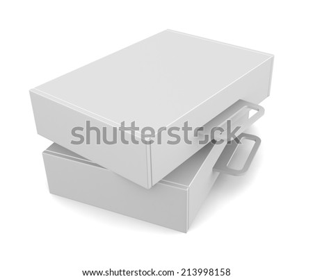 Blank package boxes with handle - isolated on white - stock photo