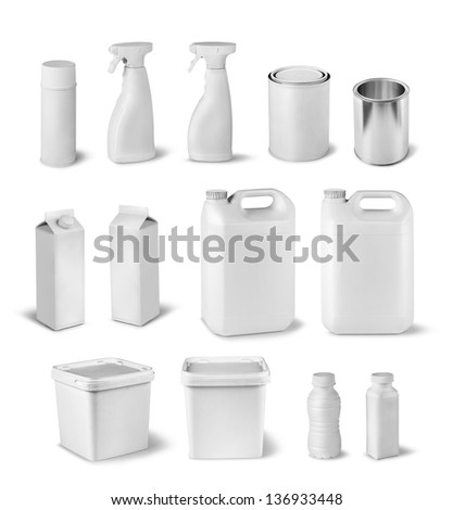 Blank package container dummy collection set isolated on white - stock photo