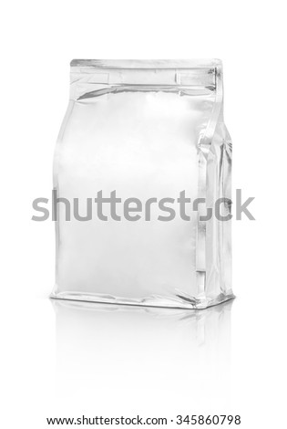 blank packaging aluminium foil pouch isolated on white background - stock photo