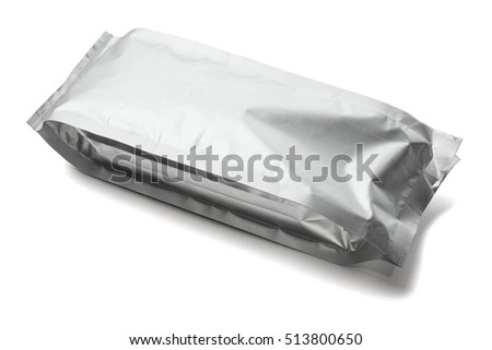 Blank Packaging Aluminum Pouch on White Background
