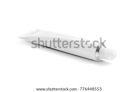 blank packaging aluminum tube for cream product isolated on white background with clipping path