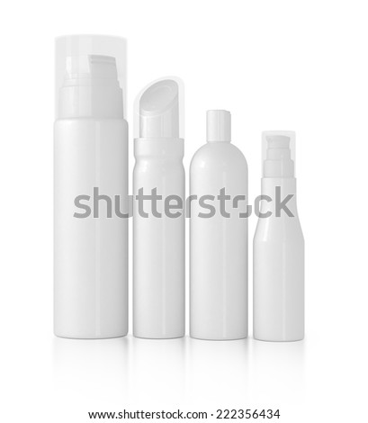 Blank packaging - bottles, cosmetics - stock photo