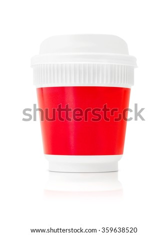 blank packaging coffee cup to go isolated on white background with clipping path