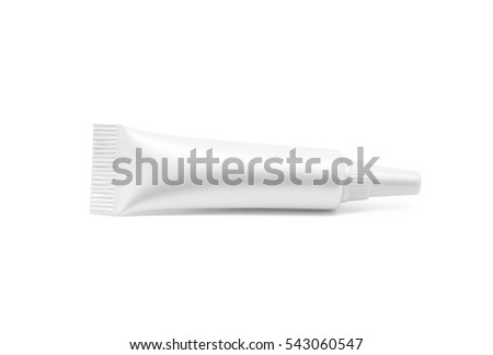 blank packaging cosmetic serum tube isolated on white background with clipping path