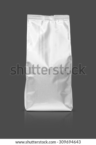 blank packaging foil pouch isolated on gray background