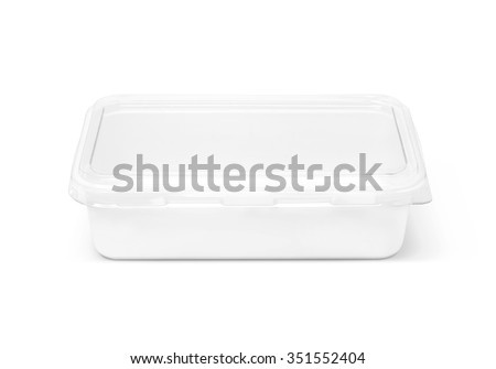 blank packaging plastic box for food isolated on white background with clipping path