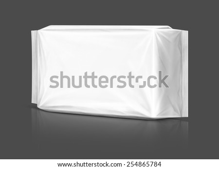 Blank packaging plastic pouch isolated on gray background