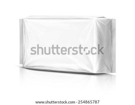 Blank packaging plastic pouch isolated on white background