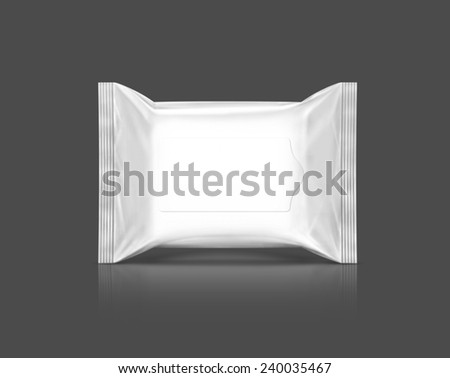 blank packaging plastic wipes pouch isolated on gray background