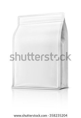 blank packaging pouch ready for product design, isolated on white background with clipping path - stock photo