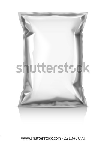 blank packaging snack pouch isolated on white background - stock photo