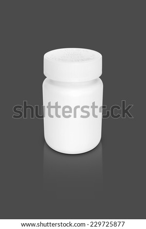 blank packaging supplement bottle isolated on gray background