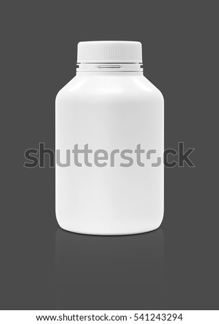blank packaging supplement product plastic bottle isolated on gray background with clipping path