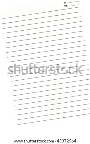 Blank page from the diary with columns for date and number of entries  isolated on white background