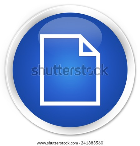 Blank page icon blue glossy round button - stock photo