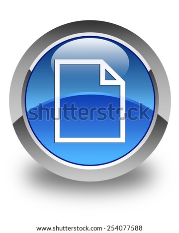 Blank page icon glossy blue round button - stock photo