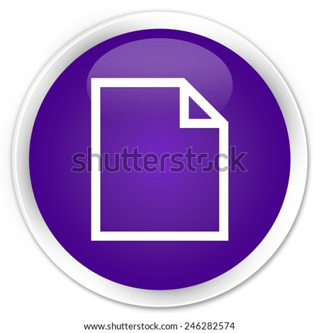Blank page icon purple glossy round button - stock photo