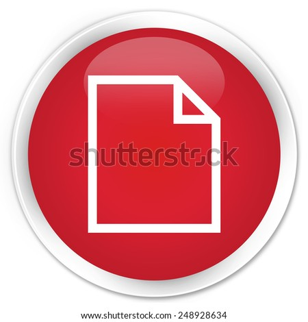 Blank page icon red glossy round button - stock photo