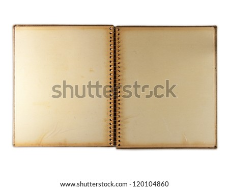 Blank page of an 1960s photo album,  isolated on white. Self-adhesive page type. - stock photo