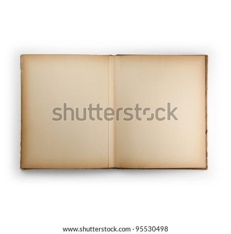 Blank page of an 1950s photo album or scrap book, isolated on white. - stock photo