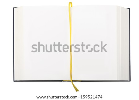 blank page of big note book,  isolated on white. - stock photo