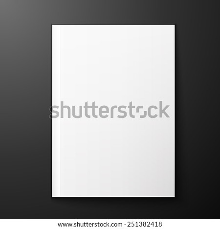 blank page of magazine on black background. Template for design - stock photo