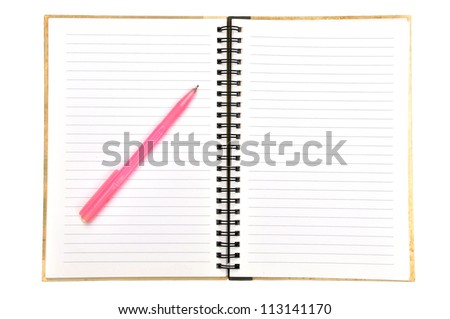 blank page of note book and pen on white isolate,good used for web or background - stock photo