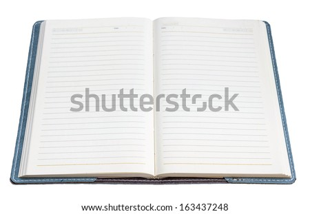 blank page of note book on white