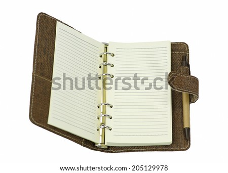 blank page of note book on white - stock photo