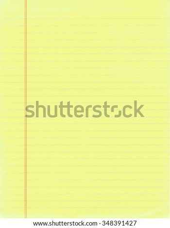 Blank page of yellow lined paper