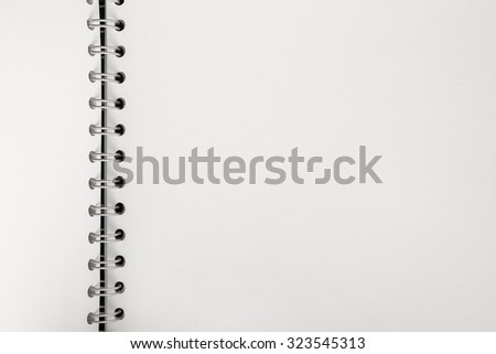 Blank page on diary with metal ring