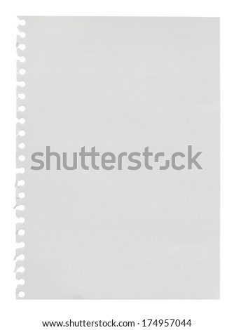 Blank page torn from a ring bound scrapbook for use as a design element with empty space your own personalised message - stock photo