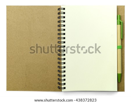 Blank pages of diary with pen on white background