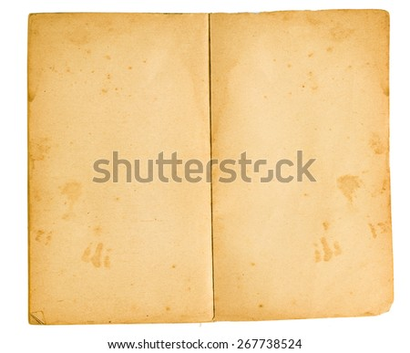 Blank Pages Of Very Old Book/ An Old Book With Blank Yellowed Stained Pages - stock photo