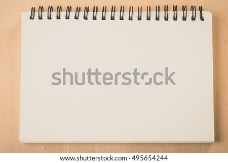 blank pages white paper notebook at office Desk , business background, concept for education