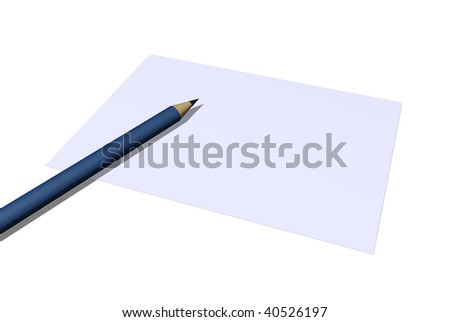 blank paper and a pencil on white background - 3d illustration