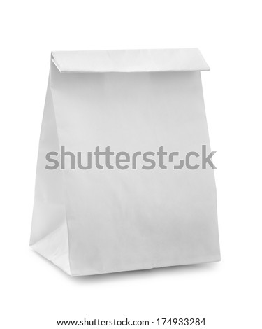 Blank paper bag isolated on white - stock photo