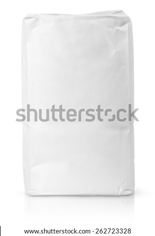 Blank paper bag package of flour isolated on white with clipping path - stock photo