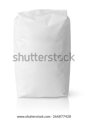 Blank paper bag package of salt isolated on white with clipping path - stock photo