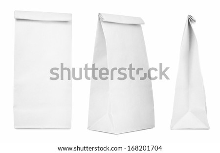 Blank paper bag set isolated on white background. Paper bags with copy space  - stock photo