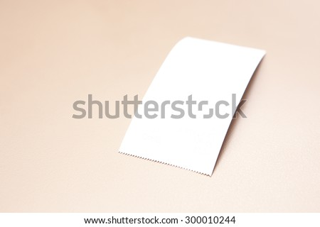 Blank Paper Bill on Golden Background. - stock photo