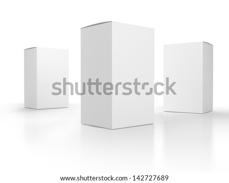 Blank Paper Boxes Composition Template Render Stock Illustration ...