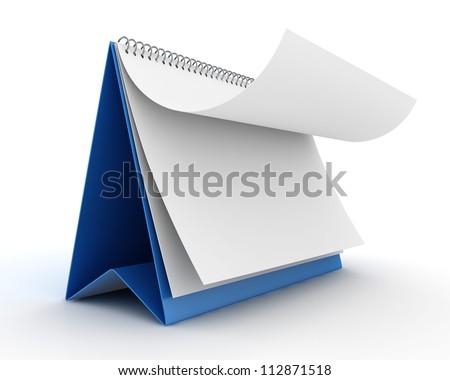 Blank paper calendar 3d render - stock photo