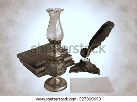 Blank paper card, oil lamp and inkwell with a quill pen as a concept of greetings on holidays. Photos with the effect of duotone.