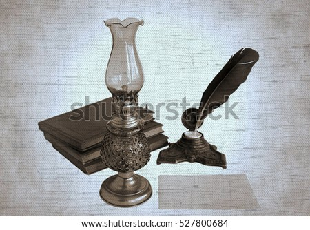 Blank paper card, oil lamp and inkwell with a quill pen. Photos with the effect of natural canvas in duotone.